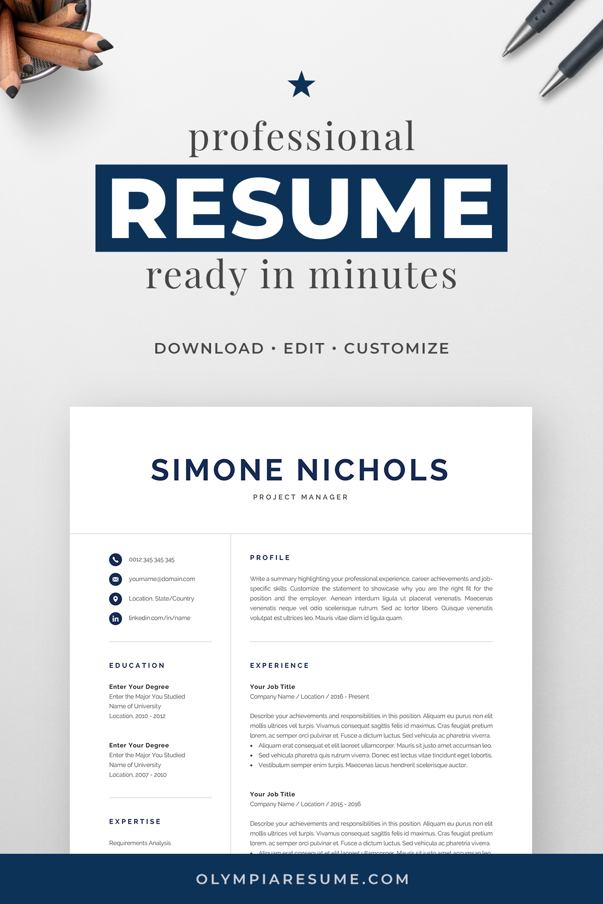 Professional Resume Template For Word Pages Executive Etsy Resume Template Word Resume Template Professional Resume Template