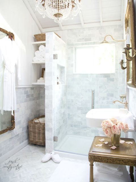 Details~ Planking the walls (FRENCH COUNTRY COTTAGE) | Extra storage on vintage bathroom cabinets, country bath designs, vintage marble bathroom designs, vintage bathroom remodeling ideas, vintage blue bathroom designs,