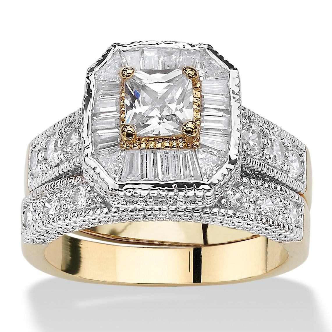 Yellow Goldplated Cubic Zirconia Bridal Ring Set White