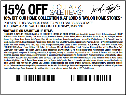 photograph relating to Lord and Taylor Printable Coupon named Choose 15% off at Lord Taylor! #coupon CheckPoints Promotions
