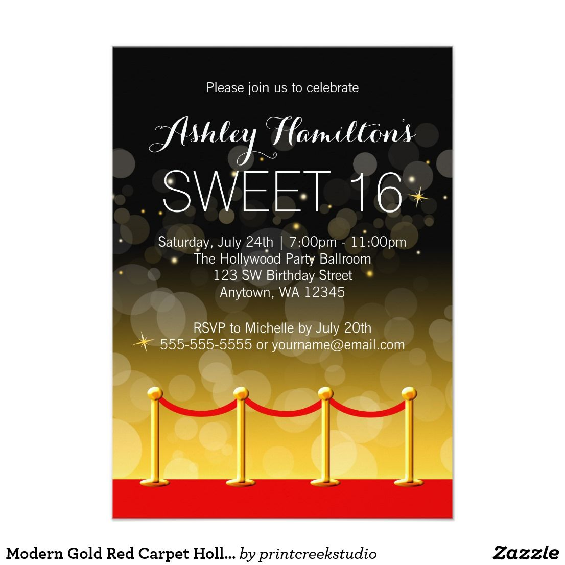 Modern Gold Red Carpet Hollywood Sweet 16 Card | Sweet 16, Sixteenth ...
