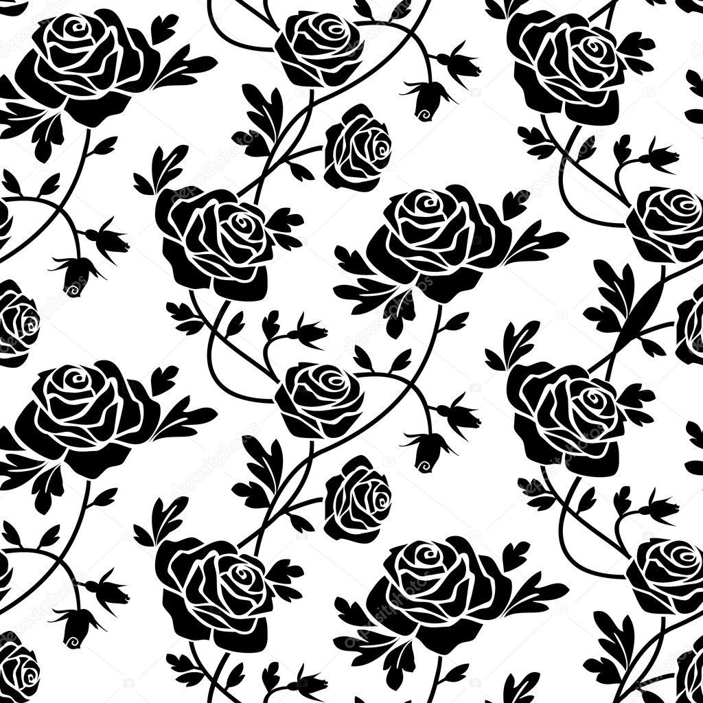 Romantic Roses Seamless Pattern Black Flowers At White Background