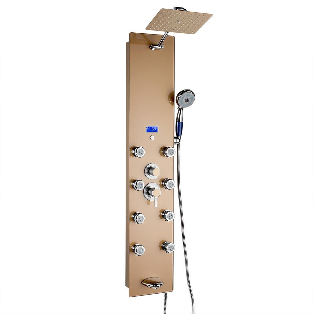 Akdy 52 In 8 Jet Shower Panel System In Gold Tempered Glass With