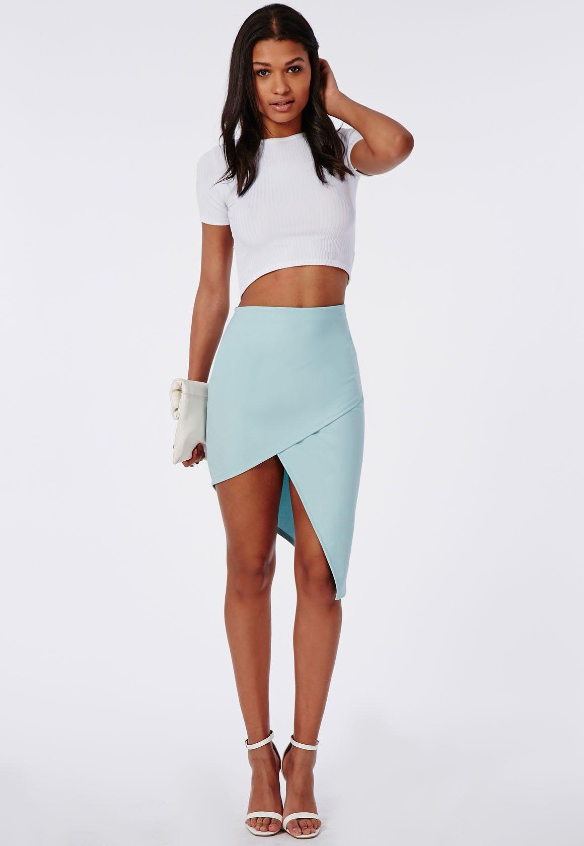 Missguided: Asymmetric Midi Skirt Powder Blue $42.00 | Dance Dance ...