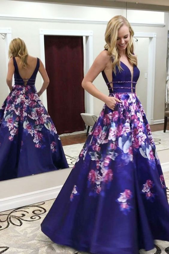 fad9911526 Deep V-Neck Prom Dress
