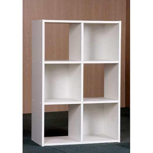 Bookcase Cube Storage Organizer Bookshelf Racks Furniture 6 Compartments White