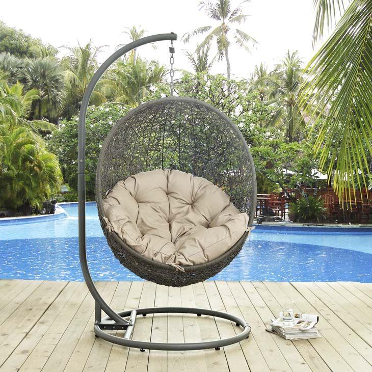 EEI2273GRYBEI_4_ Patio swing chair, Swinging chair