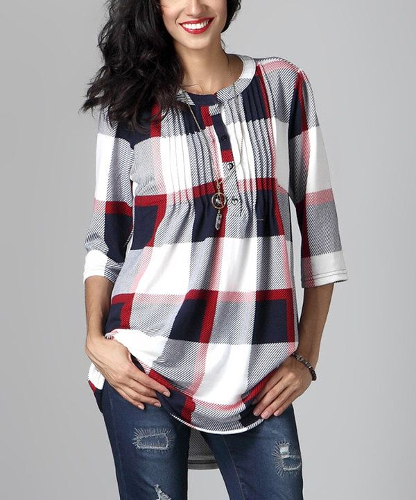 Look at this White Plaid Notch Neck Pin-Tuck Tunic on #zulily today!