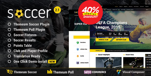Soccer - Sport WordPress Theme with poll, fixture, result, points table, profile feature