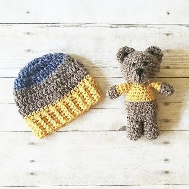 544e780b1542e0 Crochet Striped Beanie Hat Teddy Bear Stuffie Set Infant Newborn Baby  Toddler Child Handmade Photography Photo Prop Baby Shower Gift
