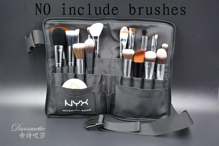 Black Two Arrays Makeup Brush Holder Professional PVC Apron Bag Artist Belt  Strap Portable Make Up Bag Cosmetic Brush Bag 76cd0c96dc42e