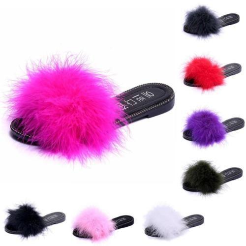 dec70b578cae Womens-Fluffy-Feather-Fur-Slide-Sandal-Mules-Slipper-Shoe-Open-Toe -Low-Flat-Heel