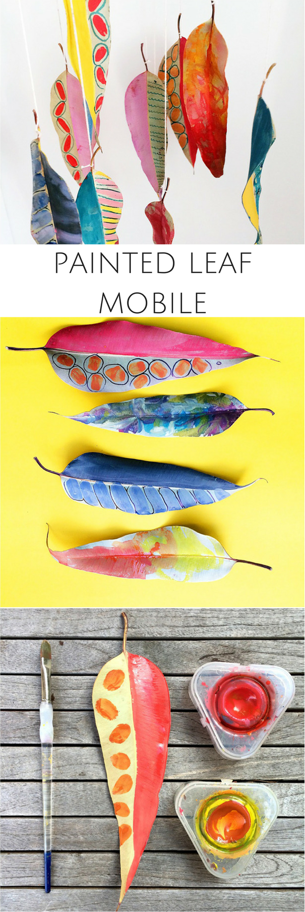 diy painted leaf mobile fun and pretty fall art nature craft for
