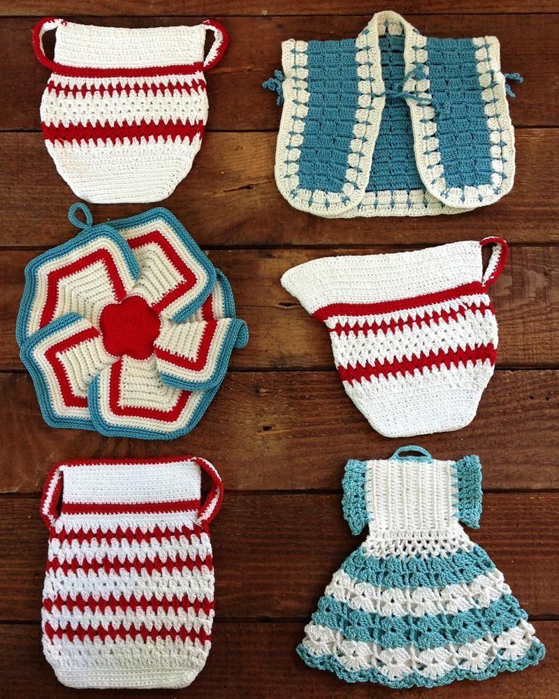 Vintage Red And Aqua Potholders Crochet Pattern Kitchen Crochet