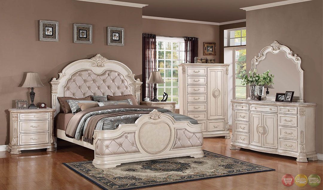 Best Unity Distressed Antique White Upholstered Bedroom Set With Stone Tops Shopfactorydirect Com 400 x 300