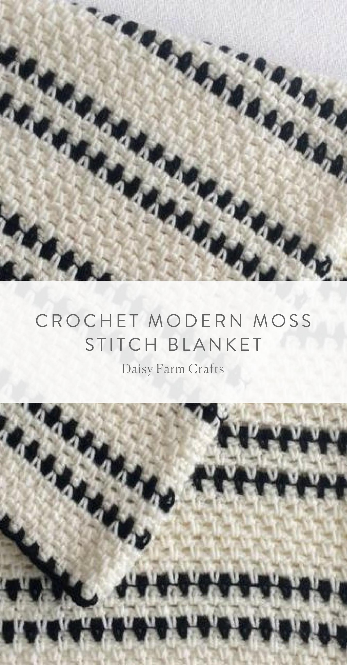 Free Pattern - Crochet Modern Moss Stitch Blanket #crochetstitchespatterns
