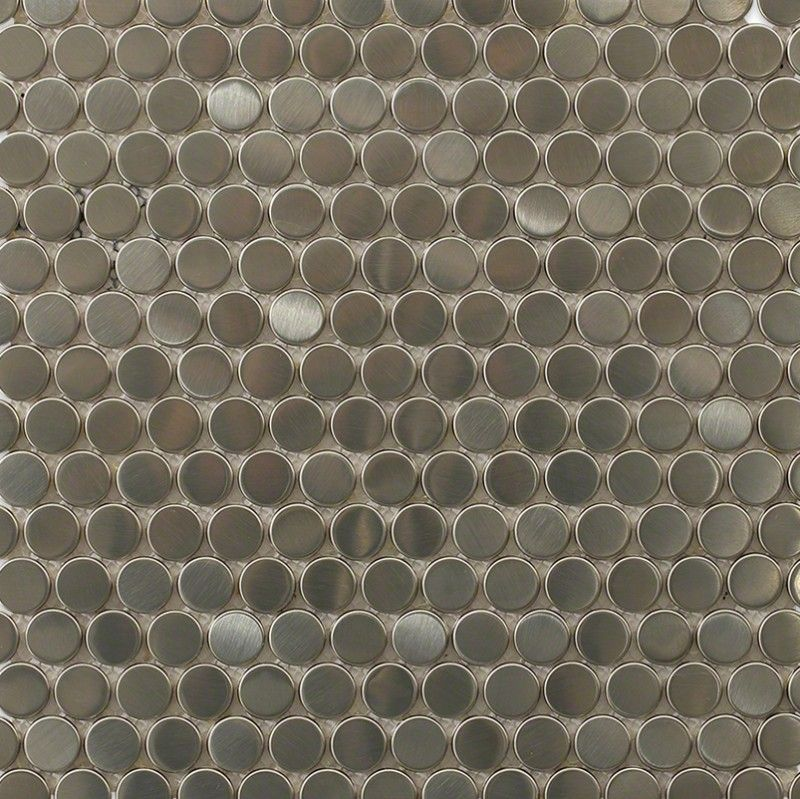 Metal Stainless Steel Penny Round Tile Brushed, 3/4 Chip
