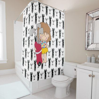 Golfing Girl Cute Shower Curtain Bathroom Accessories Home