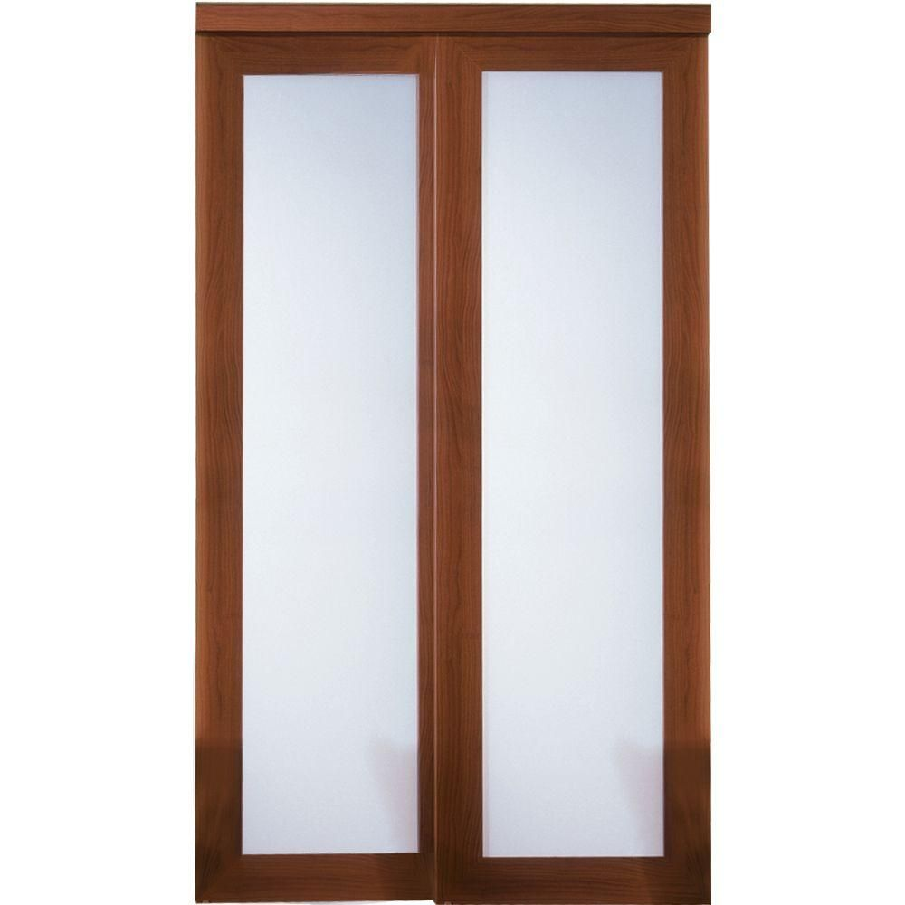 Truporte 48 In X 80 In 2000 Series Cherry 1 Lite Tempered Frosted