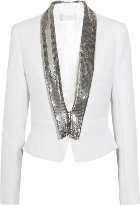 ShopStyle: Azzaro Chainmail-trimmed crepe jacket