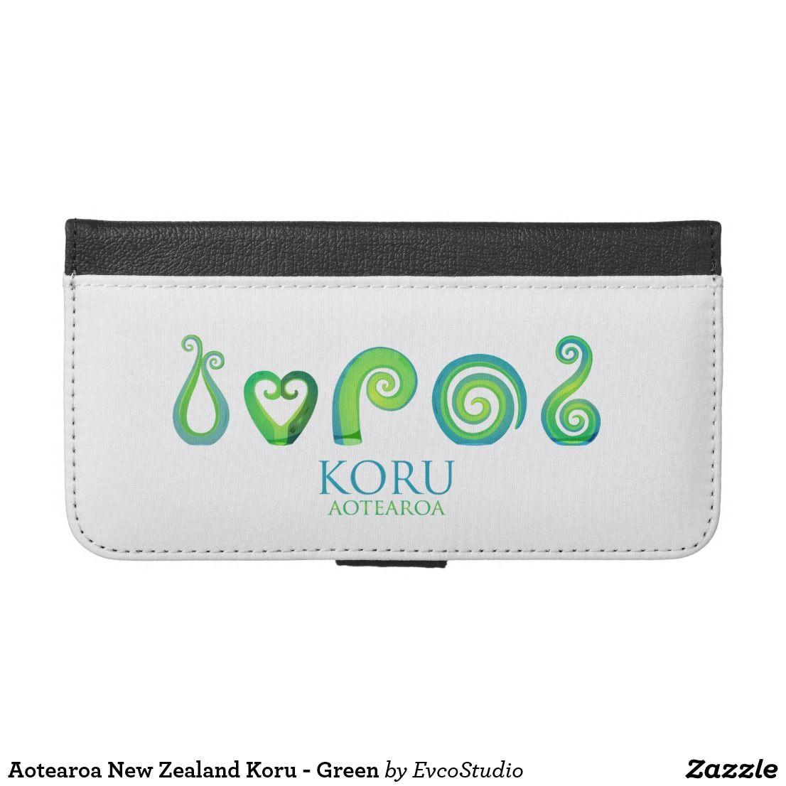 Aotearoa new zealand koru green iphone wallet case