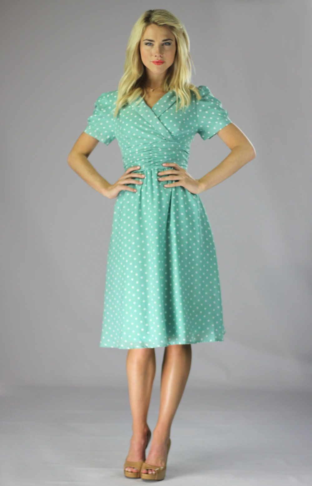 b4d700e4703f Cute vintage modest dress in mint polka-dot! $59.99 Found it! Everything on  this site is cute and modest!