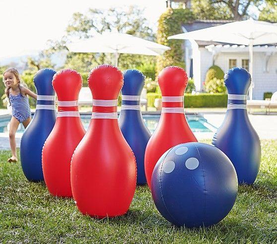 Jumbo Inflatable Bowling Set Pottery Barn Kids Backyard Trampoline Bowling