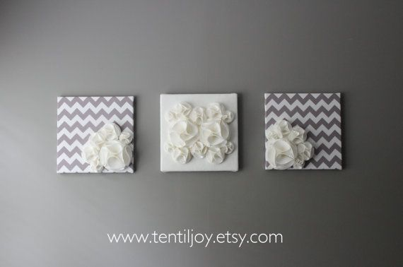 Three Wall Art Canvases Gray And White Nursery Decor
