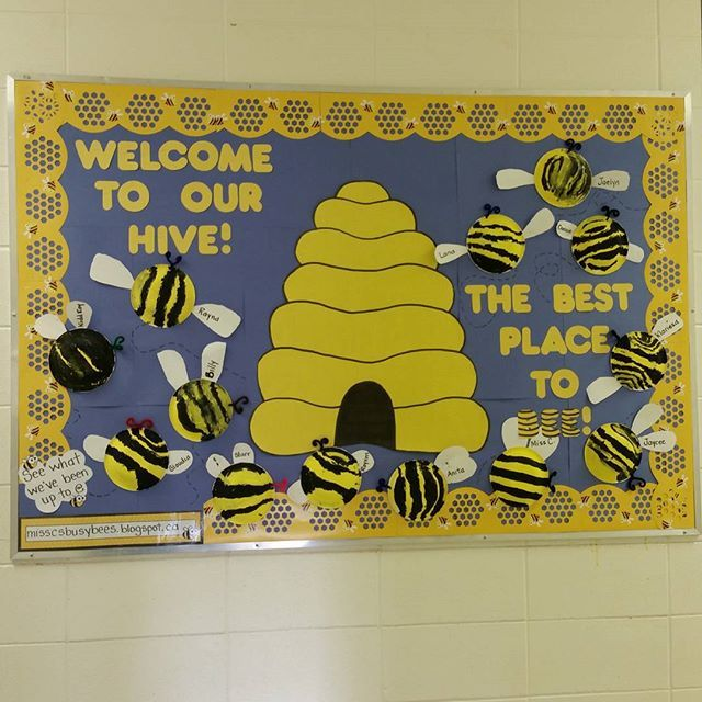 Classroom Theme Ideas Bees ~ Welcome to our hive bee themed bulletin board with the