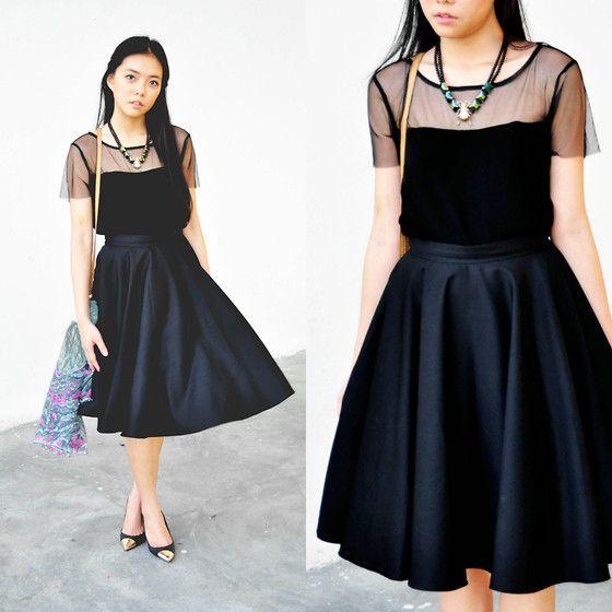 Cloth Inc Mesh Top, Chlorine Clothe Black Midi Skirt | Lookbook.nu ...