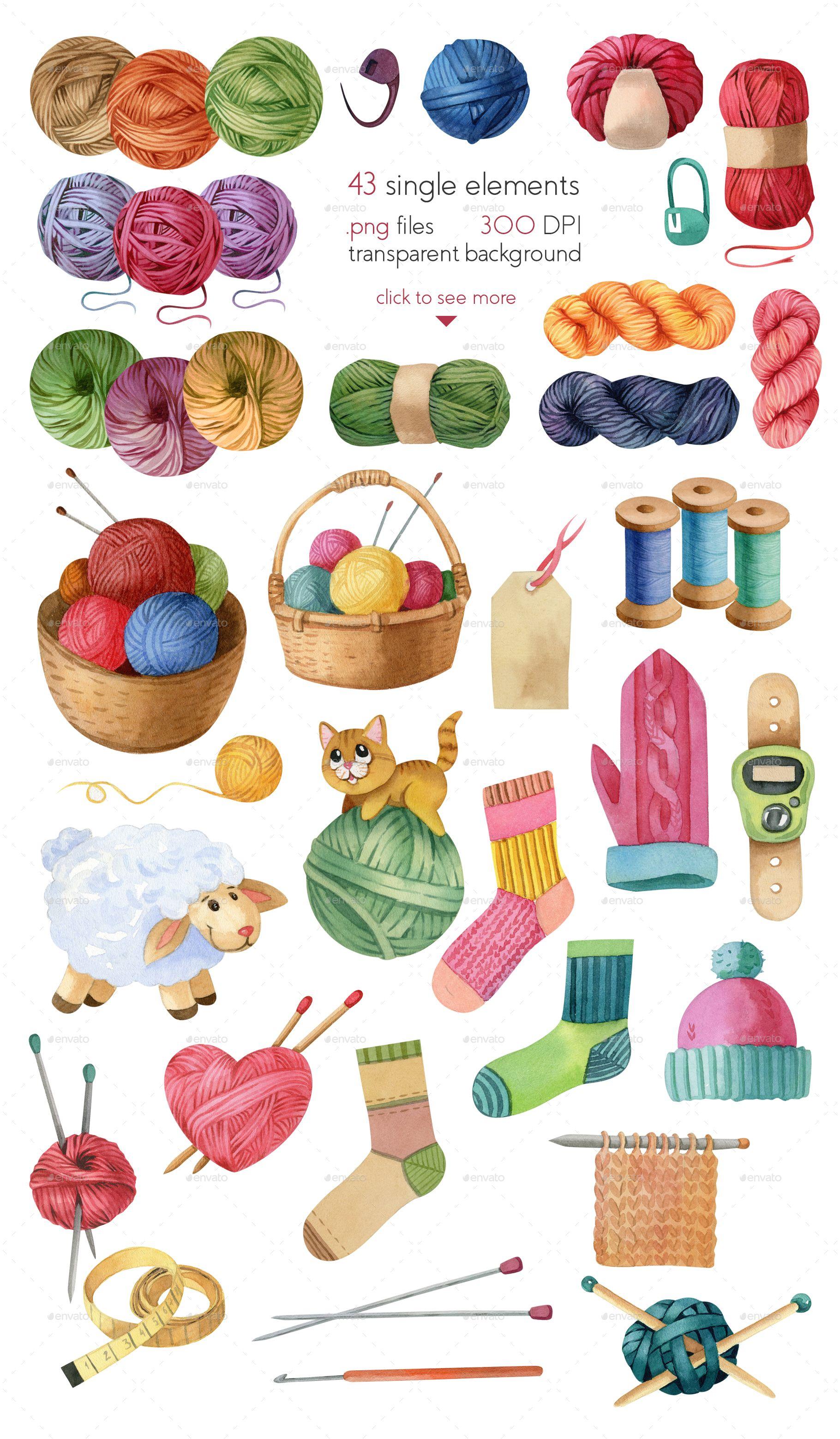 Watercolor Knitting And Crocheting Set Sewing Art Knit Art Sewing Crafts