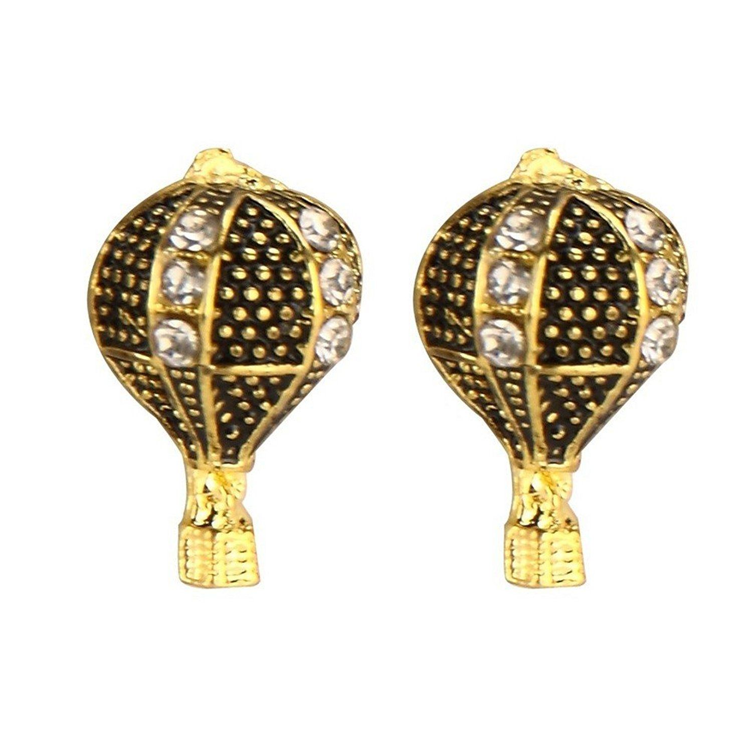 Stud Earring Hot Air Balloon (black) Made With Enamel & Tin Alloy By Joe