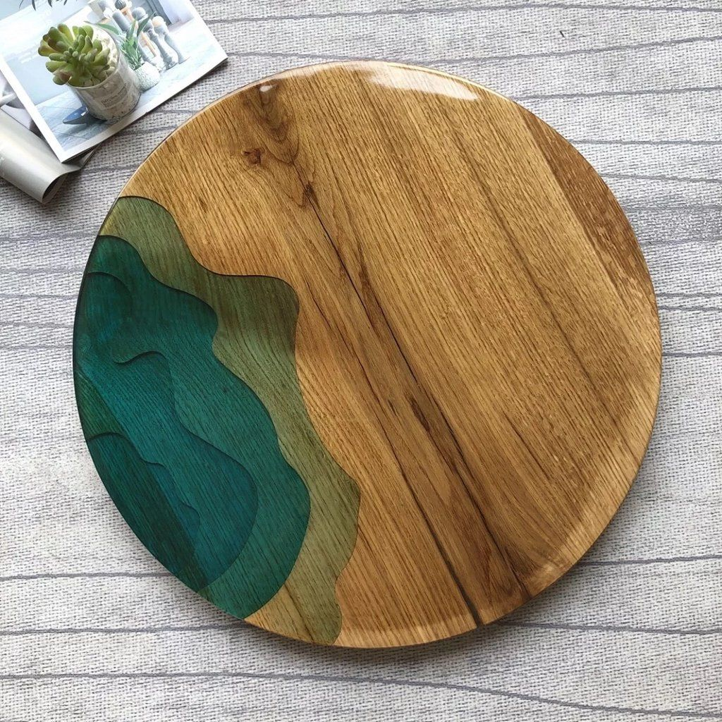Mkrt 190662 Diy Natural Pine Round Endless Abyss Serving Tray Coffee Tray Clear Epoxy Resin Epoxy Resin Art Diy Coffee Table Clear Epoxy Resin [ 1024 x 1024 Pixel ]