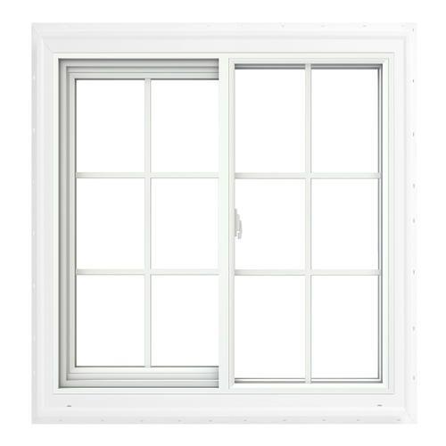 Jeld Wen 60 W X 48 H Vinyl Sliding Window With Built In Brickmould J Channel And Grilles Best Vinyl Sliding Windows Sliding Windows Window Vinyl