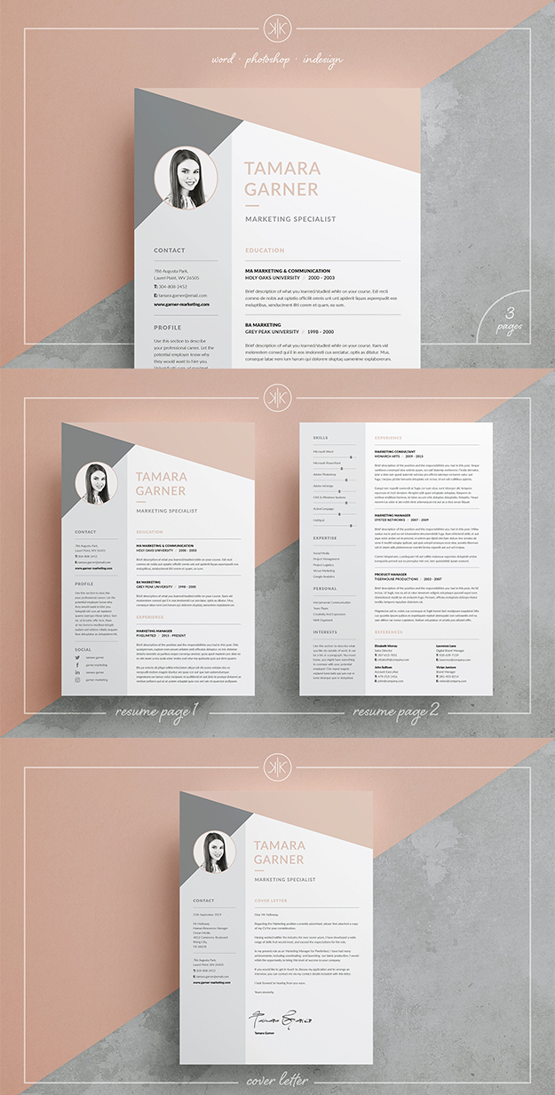 Resume Cv Template Tamara 3 Page A Professional Two Page Design With Matching Cover Letter And Funky Tri Cv Template Resume Design Template Creative Cv