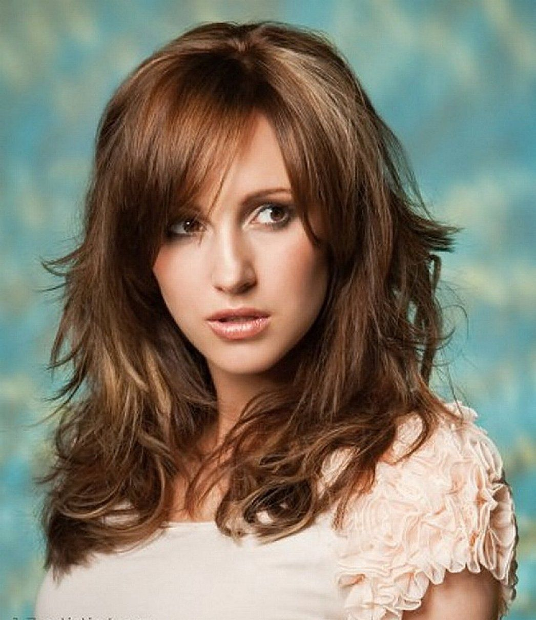 medium length hairstyles for thick wavy hair with bangs   hair