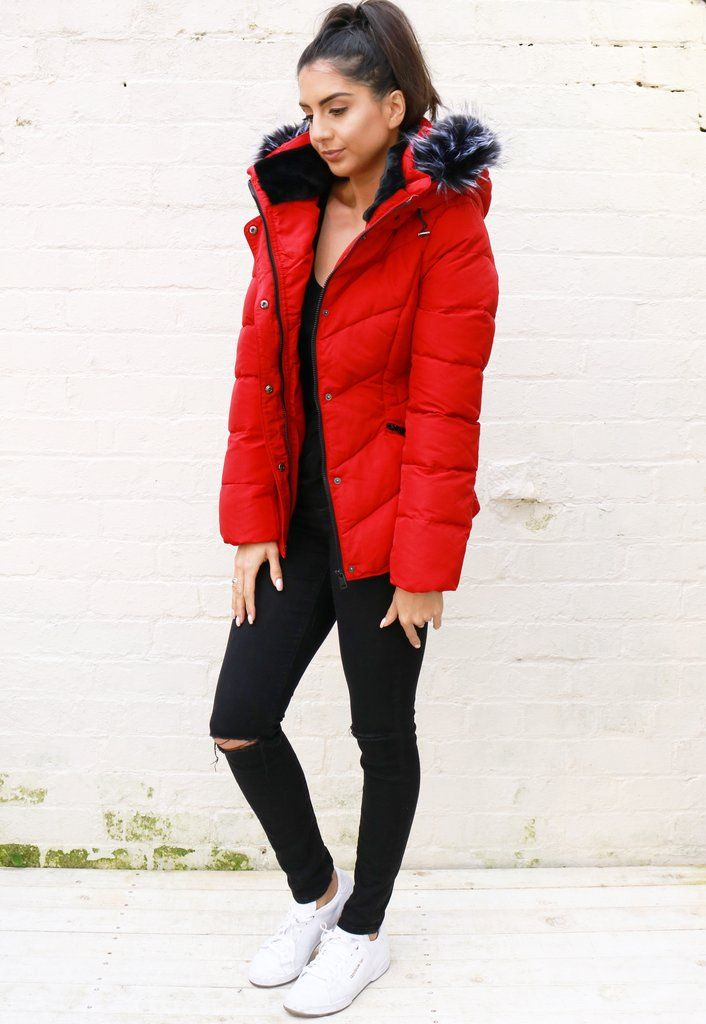2760bb7a9b1f0 Lottie Quilted Padded Short Hooded Puffer Coat with Tipped Fur Trim in Red