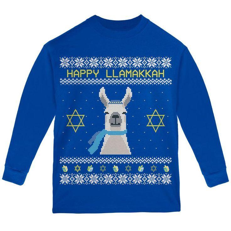 Llama Llamakkah Ugly Hanukkah Sweater Youth Long Sleeve T Shirt