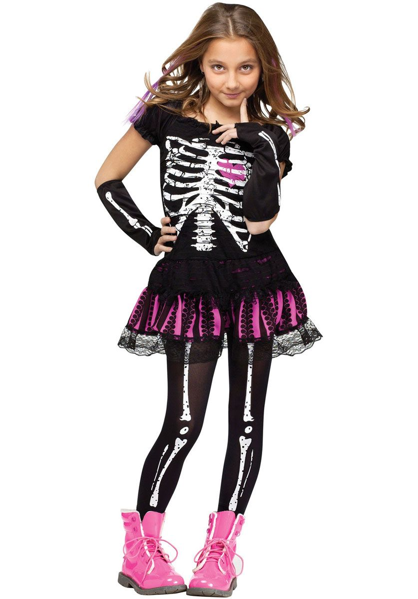 Scary Halloween Costumes For Kids Girls Uk.Kids Sally Skelly Costume Children S Fancy Dress