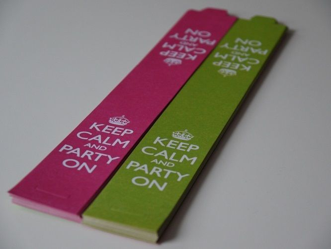 25 'Keep Calm and Party On' Paper Chain Strips Green / Pink Party Decoration