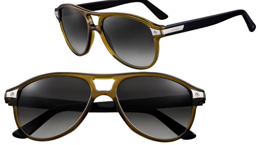 dbf0757c74a52 Auth Santos De Cartier Screw Green Black Aviator Resin Frame Sunglasses 145…