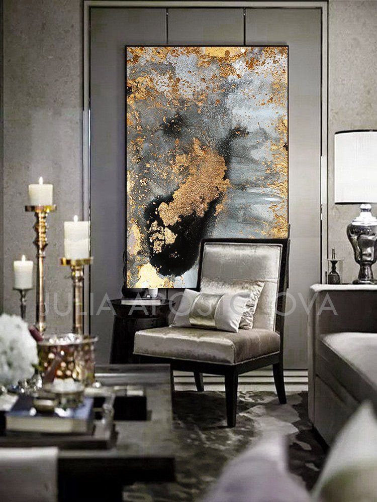 Grey Gold Black Gold Leaf Large Luxury Wall Art Canvas Print Of Original Watercolor Abstract Painting Autumn Dreams By Julia Apostolova Gold Living Room Black Wall Art Gold Wall Art