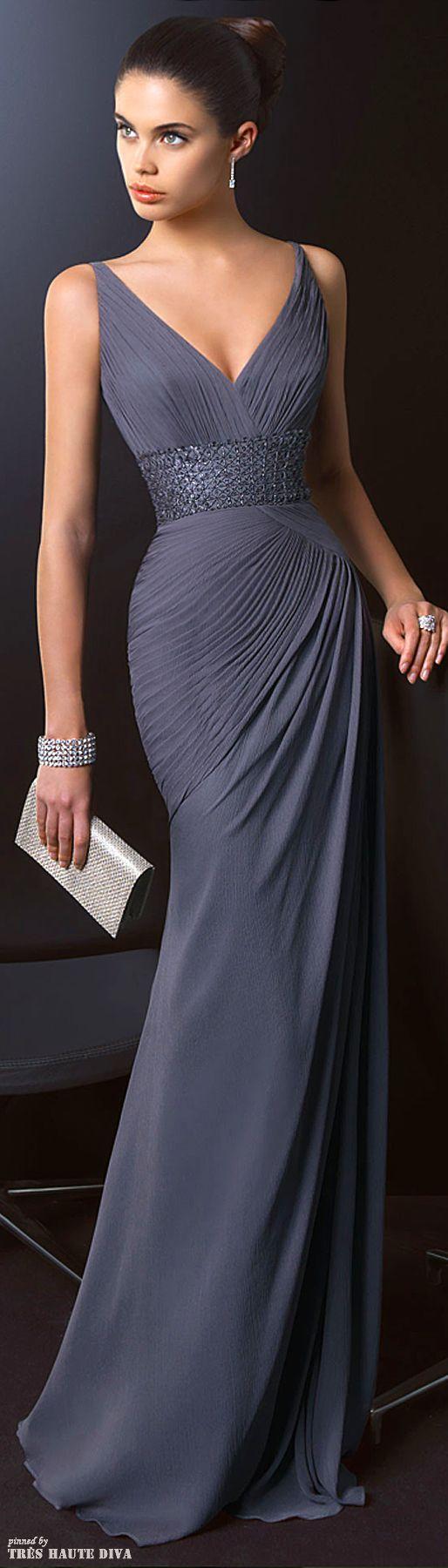 Long Dark Grey Chiffon Evening Gown