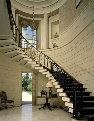 stairhall, floating staircase, Bridgewater, Connecticut | Ferguson & Shamamian