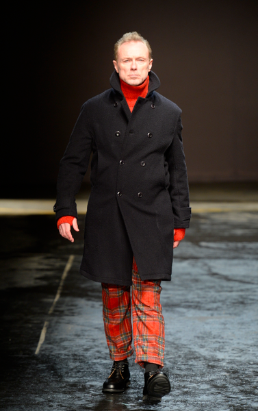 Gary Kemp wearing Oliver Spencer tartan trousers (AW14 ) made from Mallalieus fabric