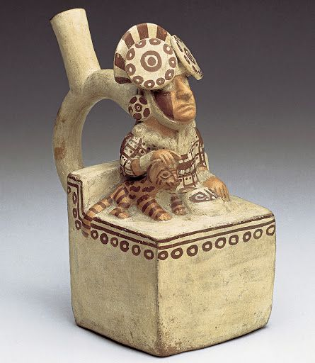 Moche Lord with Feline, Peru, c. 100-500CE.