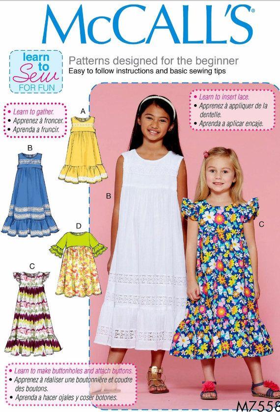 Girls' Learn to Sew Dress Pattern Tween Girls' Easy by
