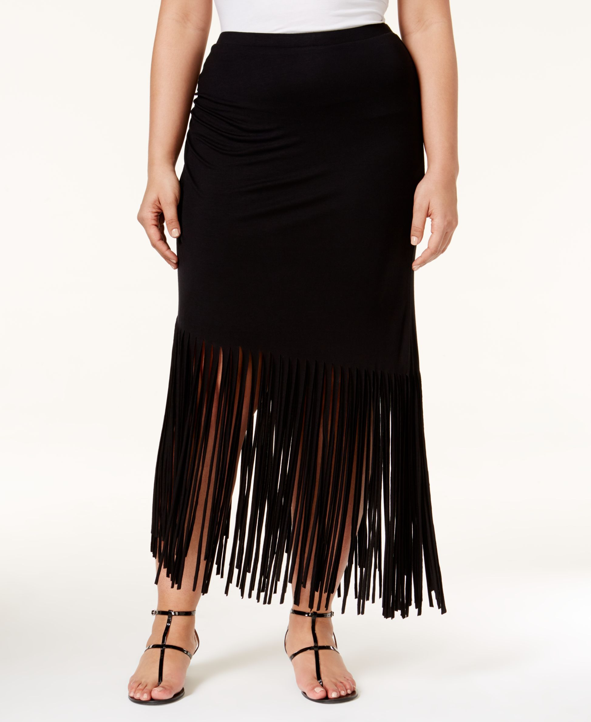 Inc International Concepts Plus Size Pull-On Fringe Maxi Skirt, Only at Macy's