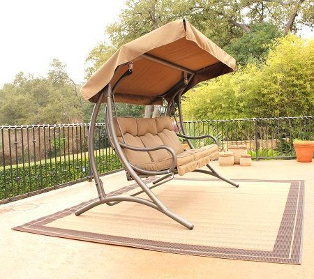 Stc Santa Fe Deluxe Patio Glider With Sunbrellacanopy Qvc Com Canopy Swing Canopy Outdoor Patio Canopy