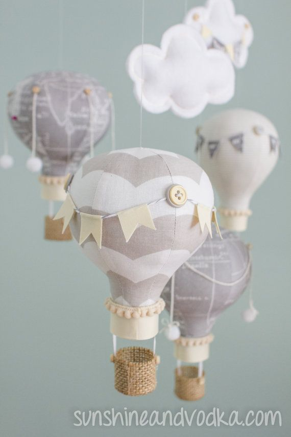 Heirloom baby mobile hot air balloon baby mobile map fabric heirloom baby mobile hot air balloon baby mobile map fabric travel theme nursery nursery decor grey and khaki baby shower gift i23 gumiabroncs Images
